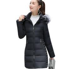 New Warm Winter Jacket Women long Hooded fur collor Cotton-Padded Parka Cotton Coat Plus Size Wadded Jacket Basic Coat QH0479