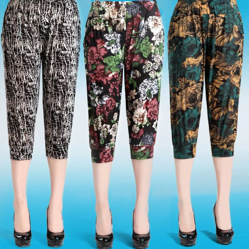 women clothing women   pants   calf-length   pants   print high elastic trousers elastic waist european summer thin   pants   women   capris