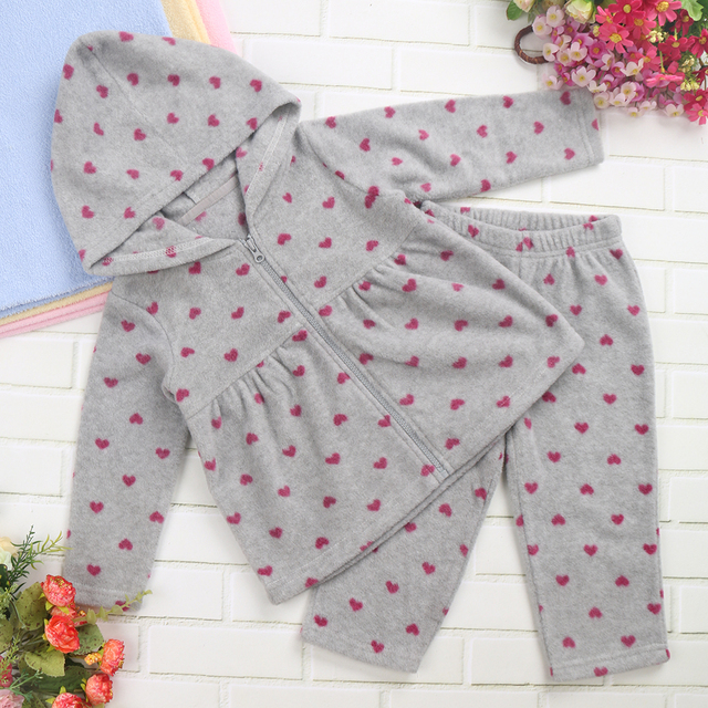 Baby Girls Clothing Set Fashion Baby Girl Hooded Outerwear Toddler Hoodies Fleece Set Warm Fluffy in Spring Autumn