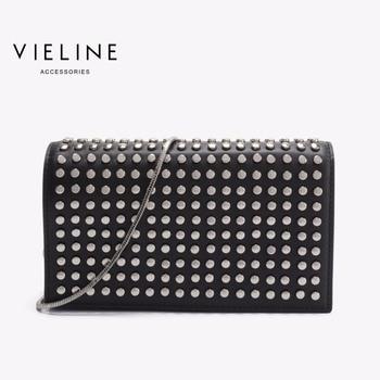 Vieline , women genuine leather leather Rivet shoulder bag ,Designer Brand real leather crossbody bag lady leather Master bag фото