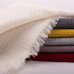 Plus größe 100% mercerisierte wolle exquisite mesh korn damenmode boutique schal schal pashmina einfarbig 80x220 cm