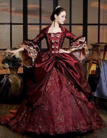 Luxe bourgogne Marie Antoinette période robe reine Renaissance Performance vêtements fête robe de bal