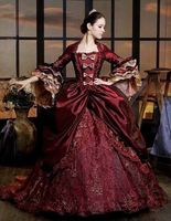 Luxury Burgundy Marie Antoinette Period Dress Queen Renaissance Performance Clothing Party Ball Gown