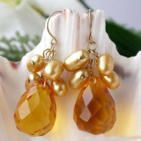 Perfect Natural Pearl Earrings,Gold Color AA 7MM Freshwater Pearls Yellow Crystal Beads Dangle Earrings