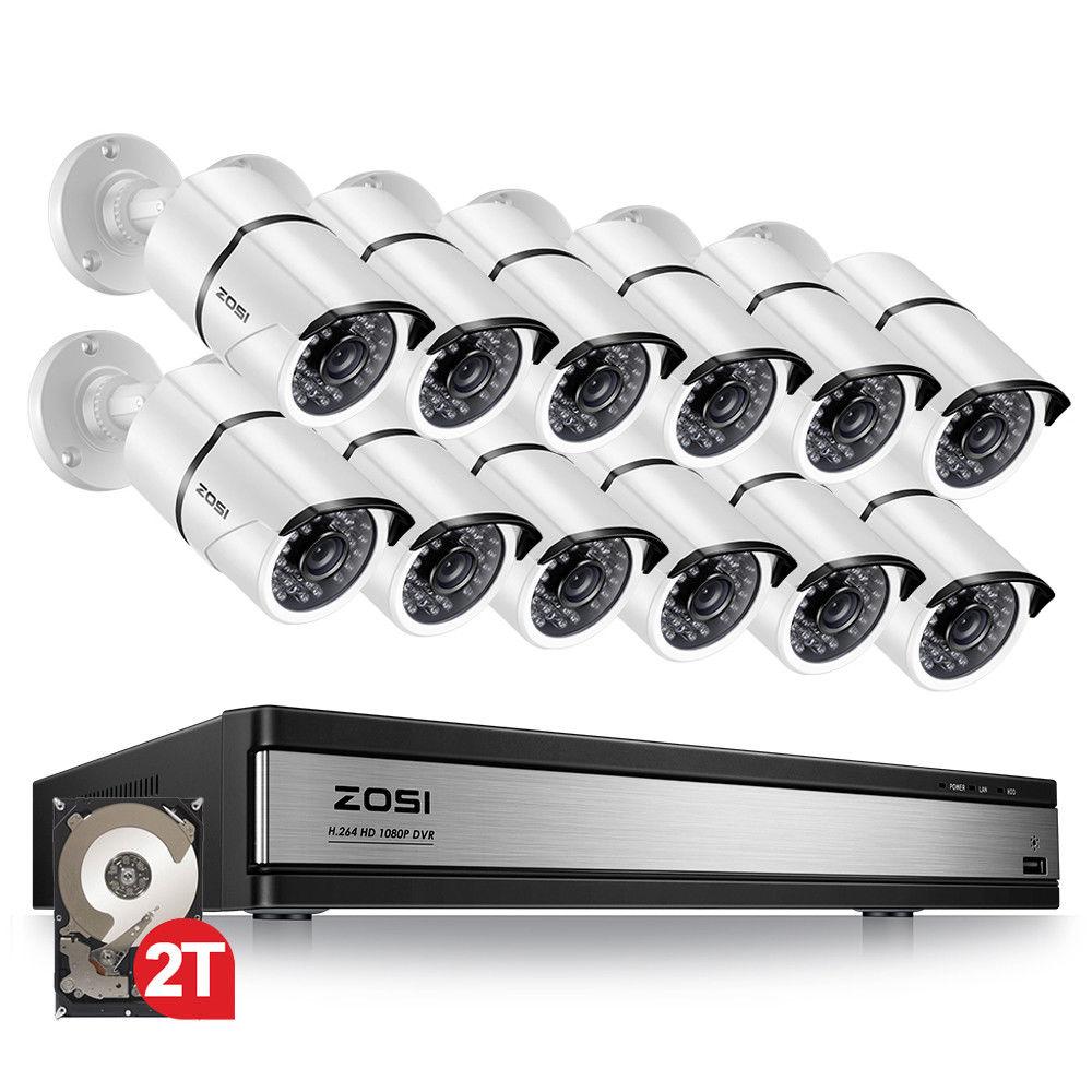ZOSI 16CH 1080 p Sistema di Telecamere di Sicurezza con 12 2.0MP Outdoor/Indoor CCTV di Sorveglianza Della Pallottola Della Macchina Fotografica con 100ft Lungo di Visione Notturna