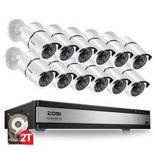 ZOSI 16CH 1080p אבטחת מצלמה מערכת עם 12 2.0MP חיצוני/מקורה CCTV Bullet מעקבים מצלמה עם 100ft ארוך ראיית לילה