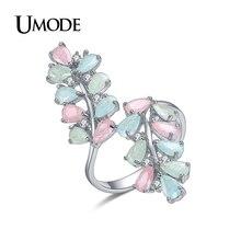 Umode bague anillos коктейль cz позолоченные конфеты кольца красочные изделия ювелирные