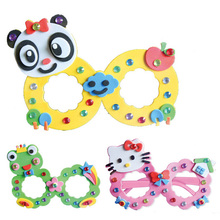 1 Pcs Random Color Creative DIY Baby Kids Eva Glasses Sticker Children Educational Handmade Material Cartoon Puzzles Crafts Toys