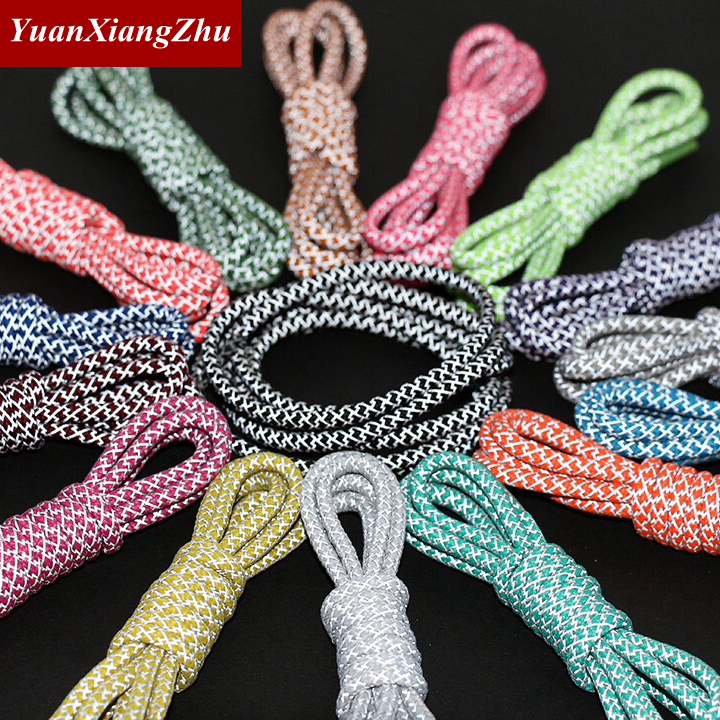 1Pair 100/120/140/160cm Fluorescent Sneaker Shoestrings Sport Shoelaces 3M Reflective Round Rope Shoes Lace Light Shoelaces