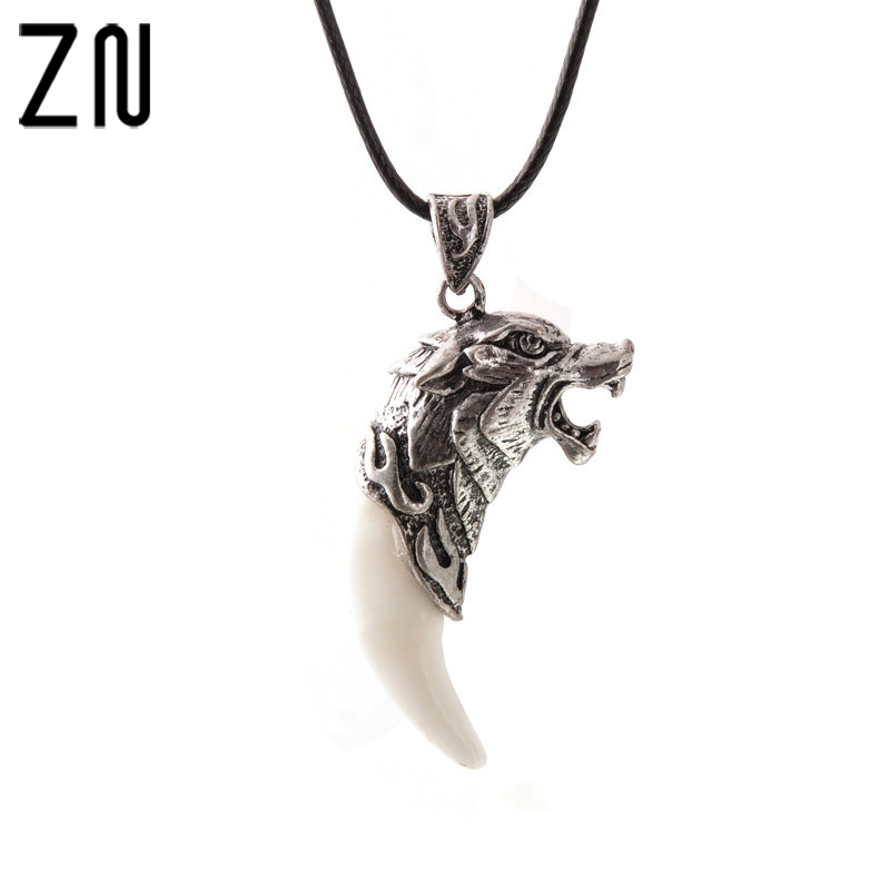 ZN Punk Fashion Brave Men Wolf dog teeth Spike Pendant Necklace Women Men Jewelry Fang Tooth Amulet Pendant Necklace