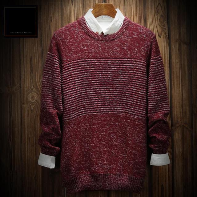 Outono dos homens Moda Inverno Puro Algodão Quente o Pescoço Marca Camisola Casual Pullovers de Malha Elástica Masculino Tamanho M L XL XXL XXXL