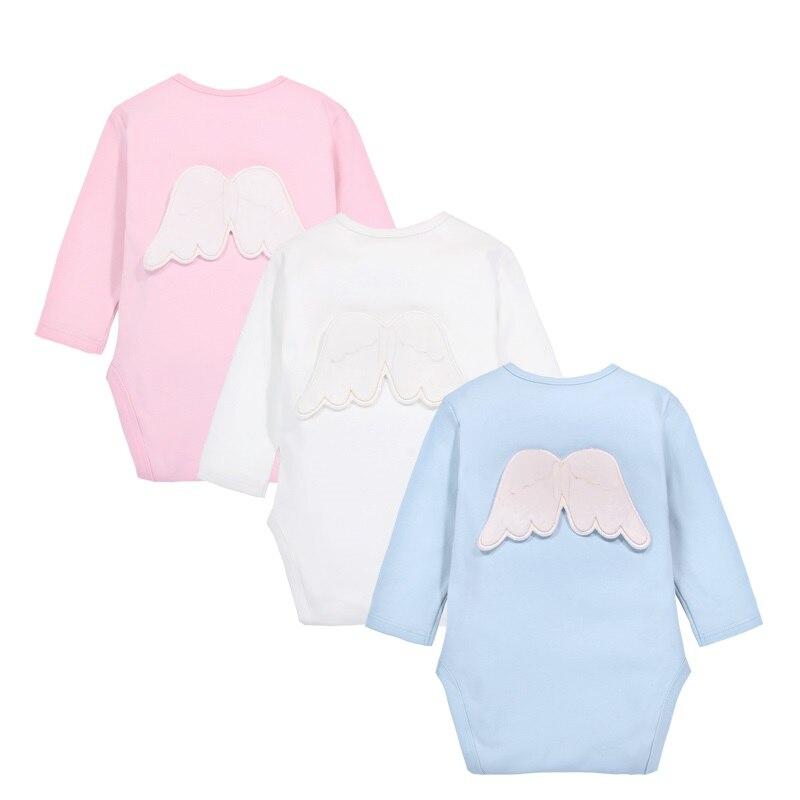 Baby Boys Baby Girls Long Sleeve Angel Bodysuit Newborn Baby's Clothes Kids Costume Jumpsuit KF278