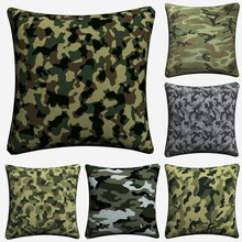 цена на Camo Camouflage Pattern Army Painted Art Decorative Cotton Linen Cushion Cover Throw Pillow Cover For Chair Sofa Pillowcase Soft