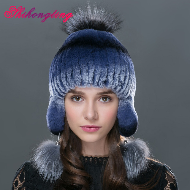 2016 winter beanies fur hat for women knitted rex rabbit fur hat with fox fur flower top free size casual women's hat