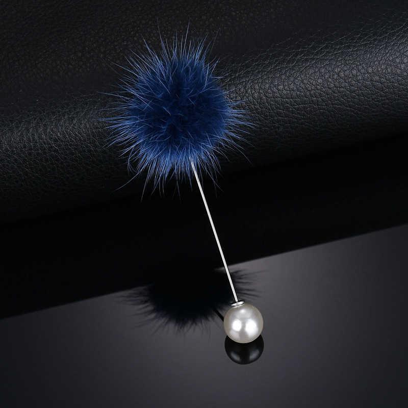 2019 neue Nette Charme Simulierte Perle Brosche Pins Für Frauen Koreanischen Fell Bommel Ball Piercing Revers Broschen Kragen Schmuck Geschenk