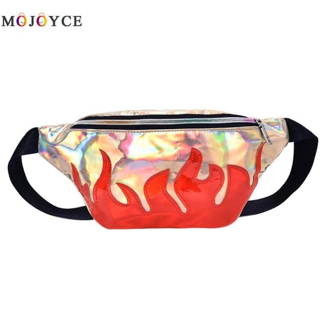 2018 Women Waist Bag Fire Printed Laser Reflective PU Leather Fanny Packs Ladies Phone Belt Bag Heuptas Pochete