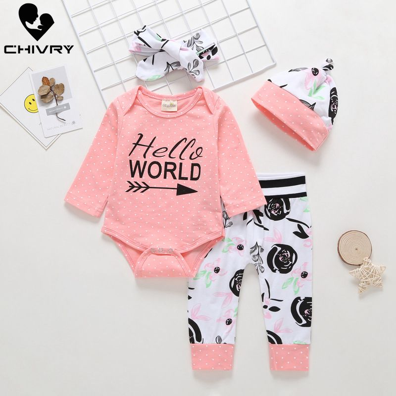 Chivry 4Pcs Newborn Infant Baby Girls Long Sleeve Letter Bodysuit Rompers Tops + Floral Pants Headband Girl Clothing Sets