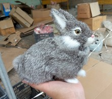 Simulation gray rabbit polyethylene&furs rabbit model funny gift about 13*14CM
