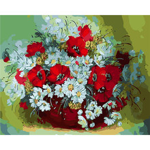 ArtSailing DIY paintings by numbers on canvas White Red Daisy pictures by numbers with acrylic paints Posters with frame NP-084(China)