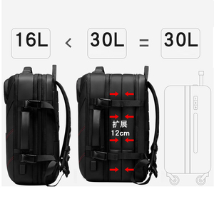 Image 2 - حقيبة السفر سعة كبيرة الذكور Mochila حقيبة الظهر القابلة للتوسيع مع USB شحن حقيبة كمبيوتر محمول على ظهره مقاوم للماء متعددة الوظائف