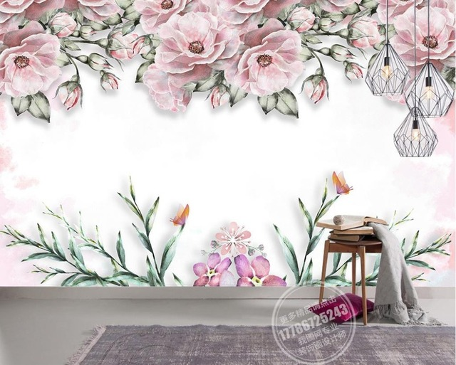 Modern Brief 3d Mural Wallpaper Elegant Flower Wall Mural Non Woven