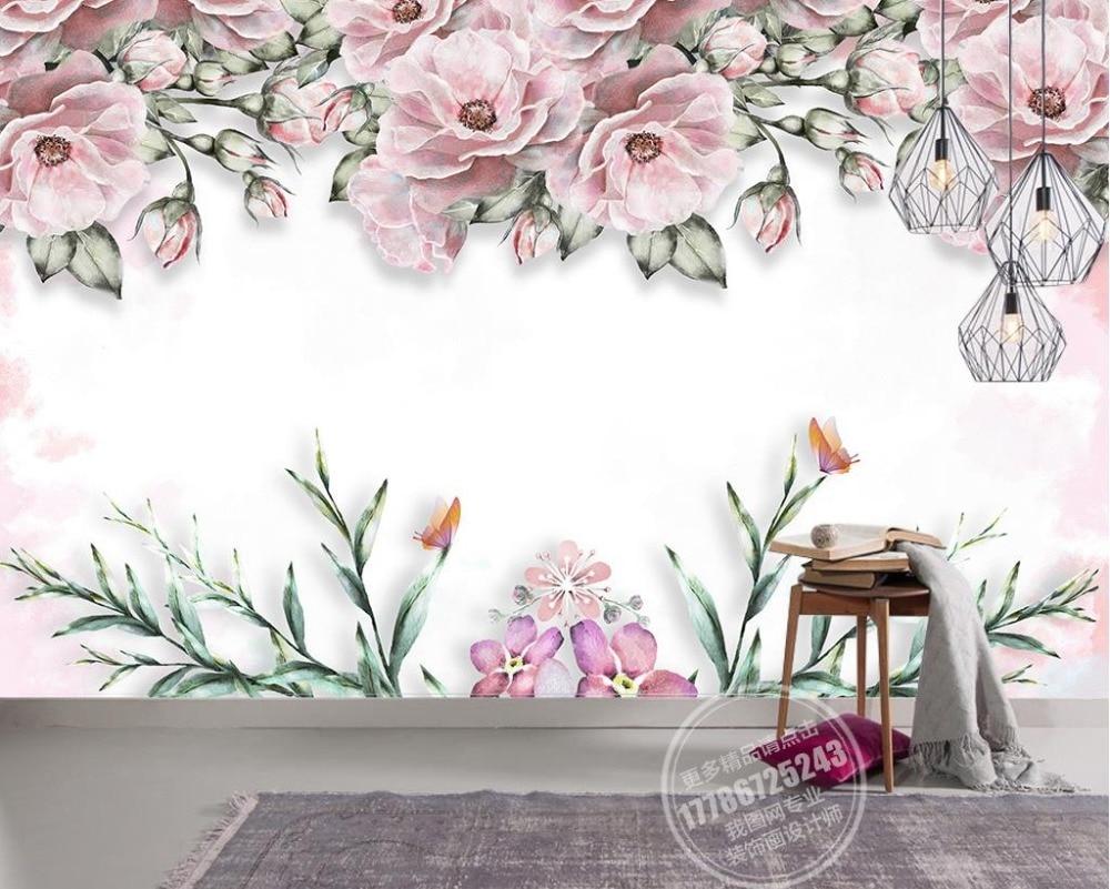 moderno breve papel tapiz mural d elegante flor mural no tejido papel tapiz rosa papel tapiz