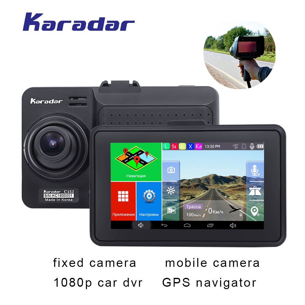 4.5 polegada Gravador DVR Carro 1080 P câmera com tela sensível ao toque Android GPS navigator car anti radar detector wifi FM BT AVIN