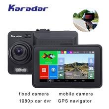 4.5 นิ้วรถ DVR กล้อง 1080 P หน้าจอสัมผัส Android GPS navigator รถเครื่องตรวจจับเรดาร์ wifi FM BT AVIN