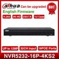 Стандартная доставка Dahua английская версия 4K 12MP NVR 32ch сетевой видеорегистратор NVR5232-16p-4KS2 16 PoE портов H.265 2ATA