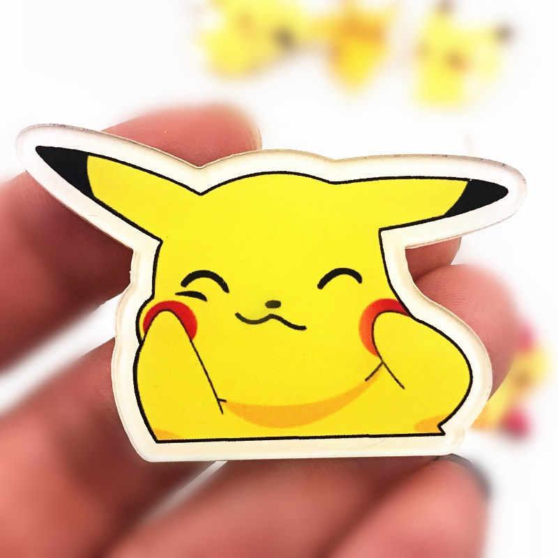 1 Pcs Hot Jual Membuat Wajah Acrylic Lencana untuk Aksesoris Di Atas Kanvas Tas T-shirt Hat Syal Pikachu Ikon Bros Pin anak-anak Hadiah