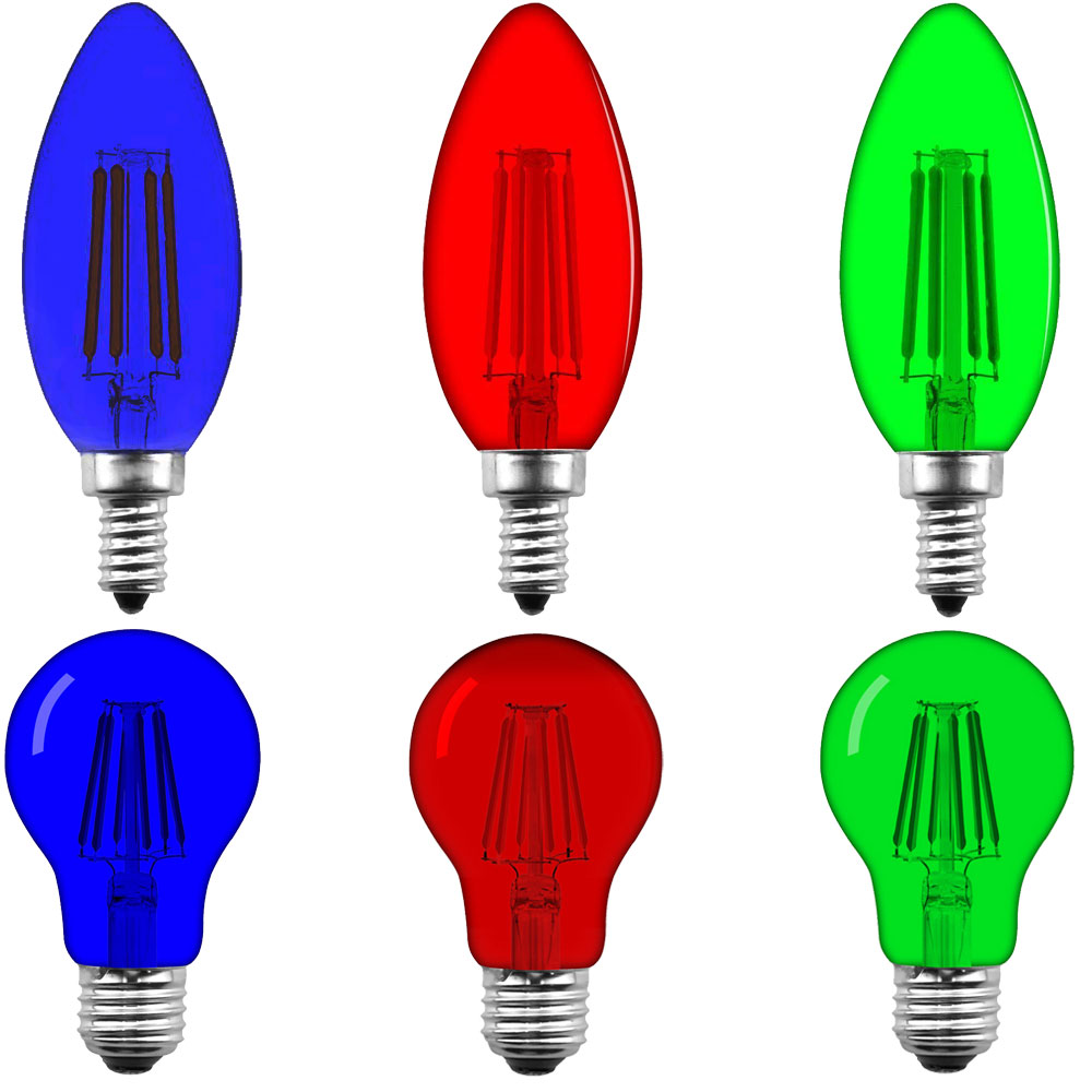 Blue Red Green Dimmable Led E12 E26 C35