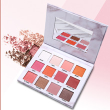 Manufacturers low price hot marble eyeshadow tray twelve color matte pearl eye makeup smudge