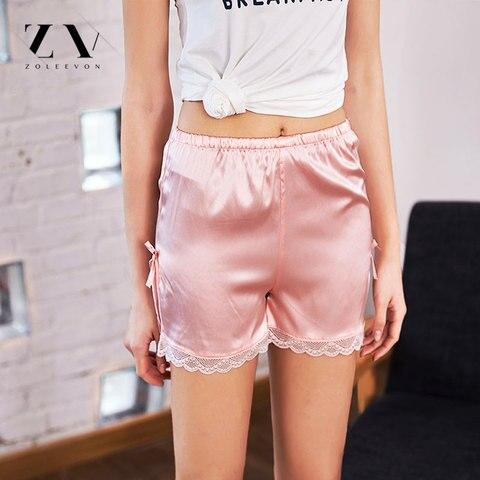 ZOLEEVON Pajamas Shorts Women Sleep Shorts Sexy Lingerie Silk Shorts Sleeping Satin Sleepwear Women Bottoms Pajama Shorts Women Multan