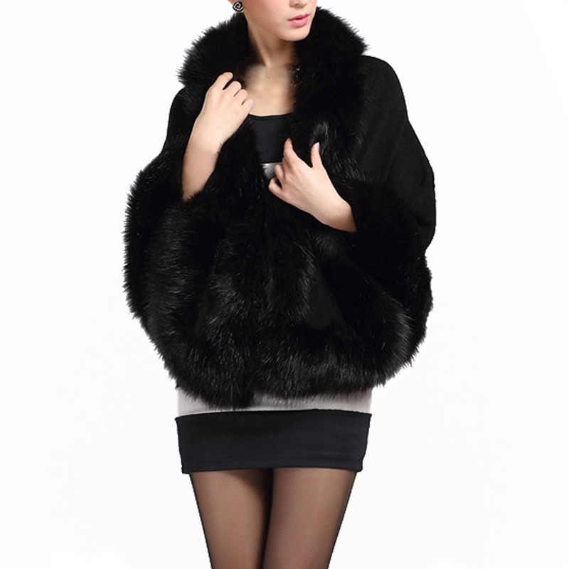 Зимнее пальто с искусственным мехом; женские пончо и Накидки Черные, белые, красные меховые верхние свадебное платье шаль накидка ворсистый, пушистый пальто для Для женщин H7