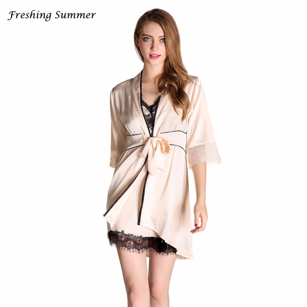 Secret Zone Half Sleeve Sexy Lace Women Robe Sets Soft Breathable Cardigan+V-Neck Nightgown Set Elegant Sleepwear