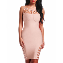 INDRESSME New Women Sexy Sheath Solid Hollow Out Spaghetti Strap Asymmetrical Summer Bandage Dress