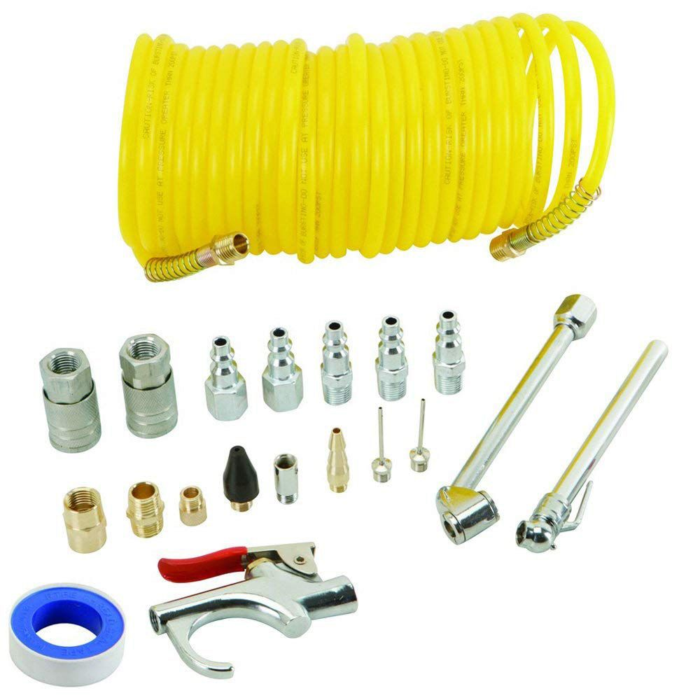 20 PCS Air Compressor Accessory Kit 25ft Recoil Air Hose Blow Gun & Tyre Inflator Quick Coupler Female Plug Dual-Head Tyre Chuck