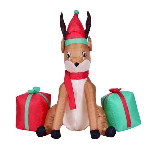 Christmas Inflatable Reindeer With Gift Boxes 4 Feet Animated Airblown Xmas  Holiday Home Yard Decoration