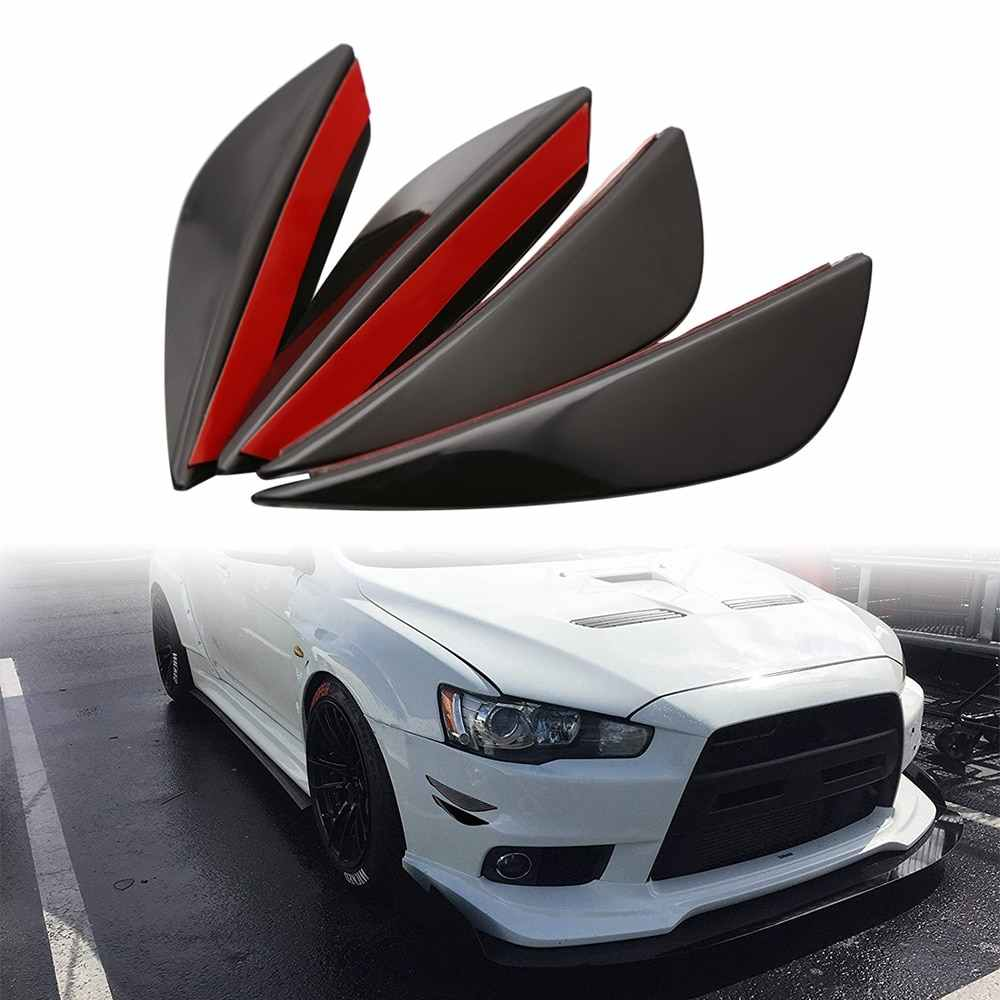 Car Styling Valence Chin Accessory 4Pcs Front Bumper Lip Splitter Fin Auto Body Kit for audi a3 golf 5 chevrolet cruze