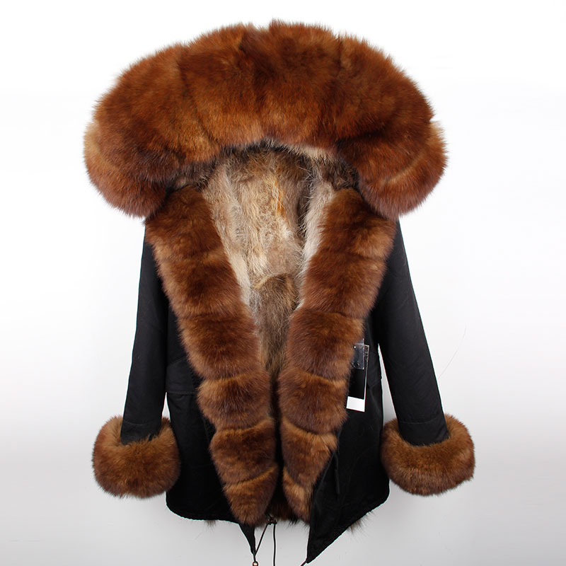 Brand parka 2019 Women Fur Coat Long Parkas New Winter Jacket Real Fox Fur Collar Natural Fox Fur Inside Warm Thick Outwear