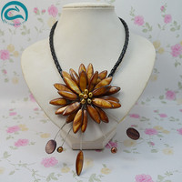 Unique Pearls jewellery Store Perfect Brown Real Pearl Shell Flower Leather Necklace Wedding Birthday Chirstmas Gift For Women
