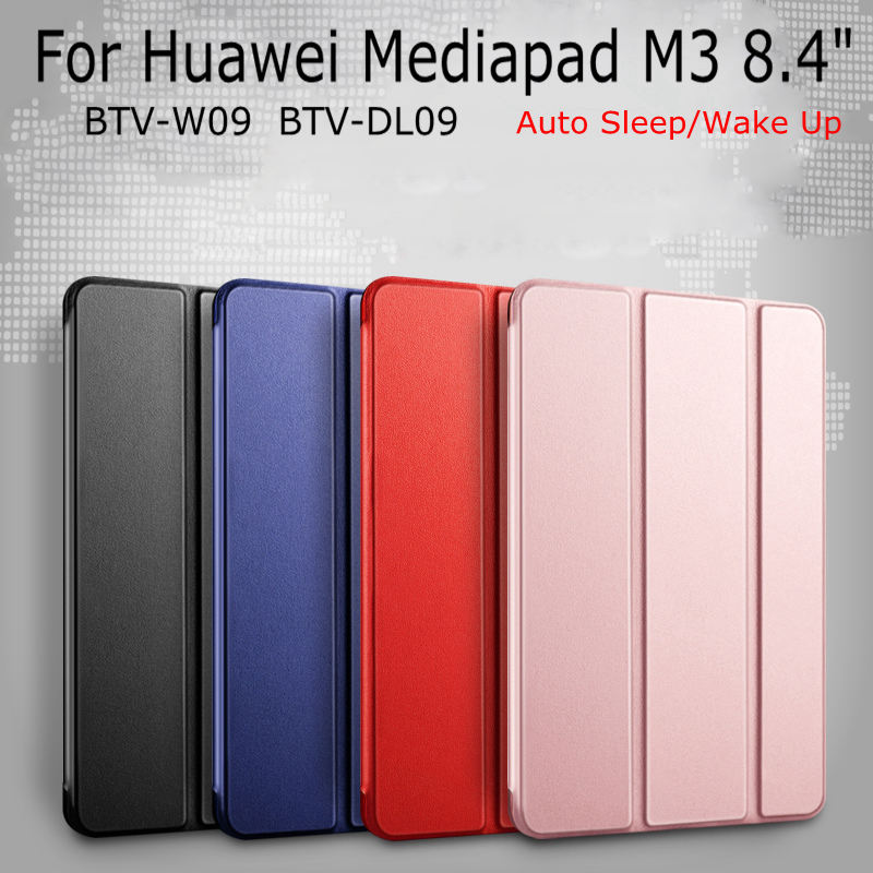 Ultra-thin Magnetic Smart PU Leather Cover for Huawei Mediapad M3 8.4 BTV-W09/DL09 Tablet Funda Case+Free Screen Film+Touch Pen ultra thin pu leather case cover for huawei mediapad m3 btv w09 btv dl09 8 4 inch tablet cases stylus film