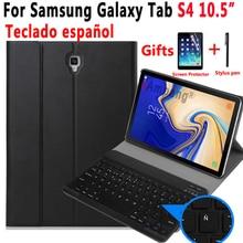 Spanisch Tastatur Fall Für Samsung Galaxy Tab S4 10,5 2018 SM T830 SM T835 T830 T835 Slim Tablet Leder Abdeckung Bluetooth Tastatur