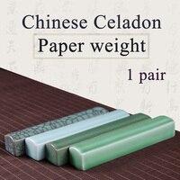 Ofis ve Okul Malzemeleri'ten Boyama Kağıdı'de 1 çift Seramik Kağıt ağırlığı Çin Seladonlar Kağıt hafif Sanat Boyama kaynağı