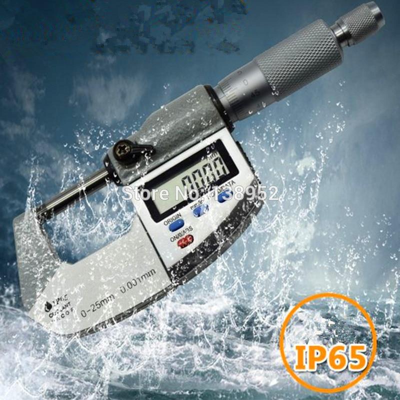 0 25mm 0 001mm IP65 Waterproof Digital Micrometer 25mm outside micrometer Caliper thickness gauge Electronic micrometer