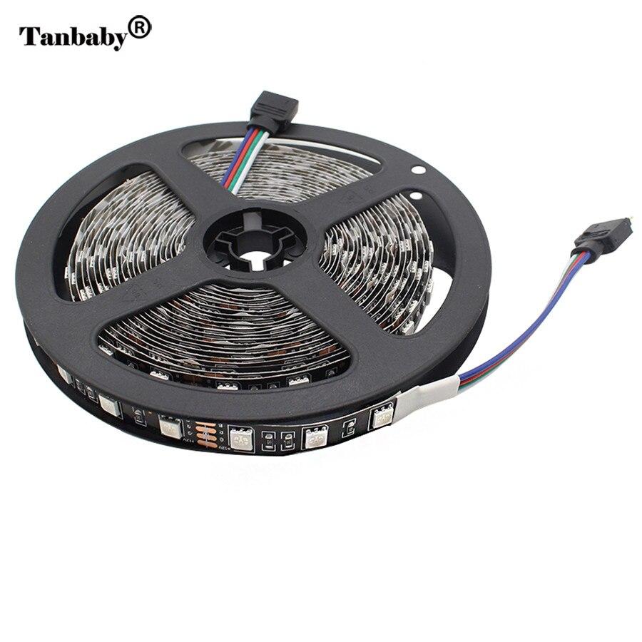 Non-Waterproof 5050 Black PCB LED Strip Ribbon Light DC12V 60 led/M LED Flexible Tape light Home Decor 5M/Roll