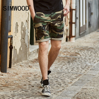 SIMWOOD 2017 New Summer Camouflage Denim Shorts Men Fashion Casual Cotton Jeans Slim Fit Knee Length