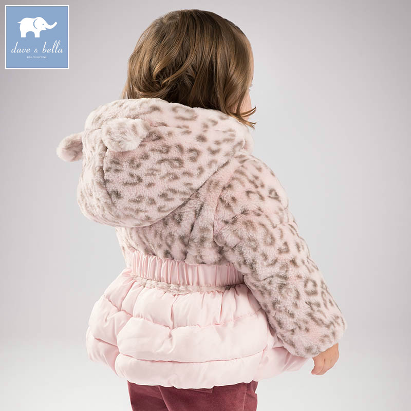 DBZ6507 dave bella winter baby girl warm Jackets toddler Hooded outerwear children hight quality padding coat girl jackets coat for winter baby girl down