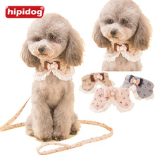 Hipidog Small Pet Dog Cat Adjustable Bowknot PU Collar Leash Set Rhinestone Lead Rope for Pets Walking Jogging