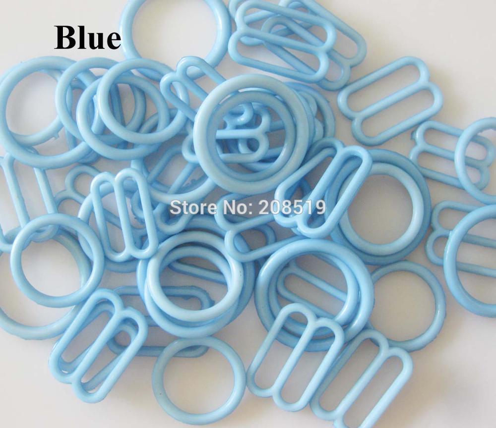 NBNLAE 100 шт. пряжки для бюстгальтера(50 шт. уплотнительное кольцо+ 50 шт. 8 слайдеров) красочные пластиковые пряжки нижнее бельё с пуговицами аксессуары - Цвет: blue as show